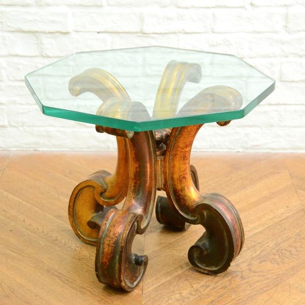 クラシック ガラス天板サイドテーブル