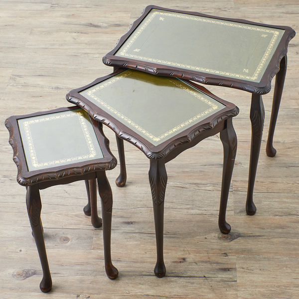 英国アンティーク ガラス天板 レザートップ ネストテーブル