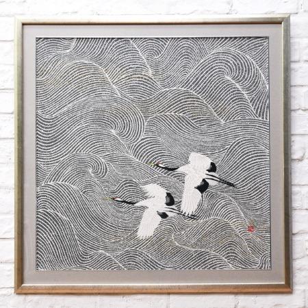 加山又造 1977年 [ 鶴 ] 複写 織物額装