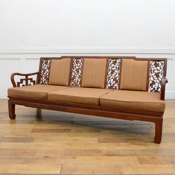 木彫細工 唐木長椅子