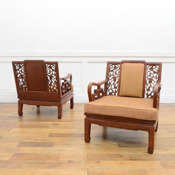 木彫細工 唐木椅子 2脚セット