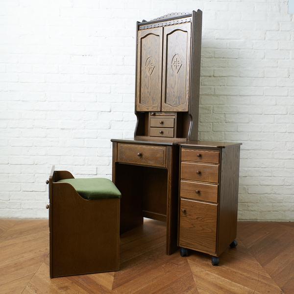 パリの雑貨屋  収納型 三面ドレッサー(椅子付き) & キャスターチェスト 2点セット