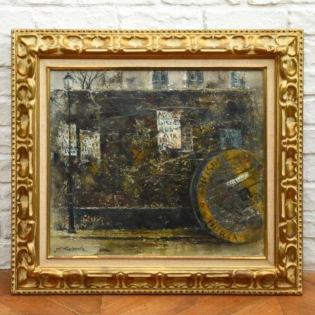 黒田保 [ パリの壁 ] 10号 油彩額装