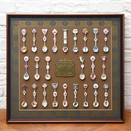限定品 ソウルオリンピック 1988年 記念品 陶器スプーンコレクション 額装