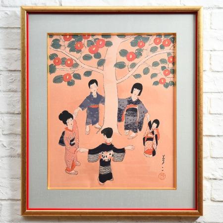 竹久夢二 [ 童子 ] 木版画額装