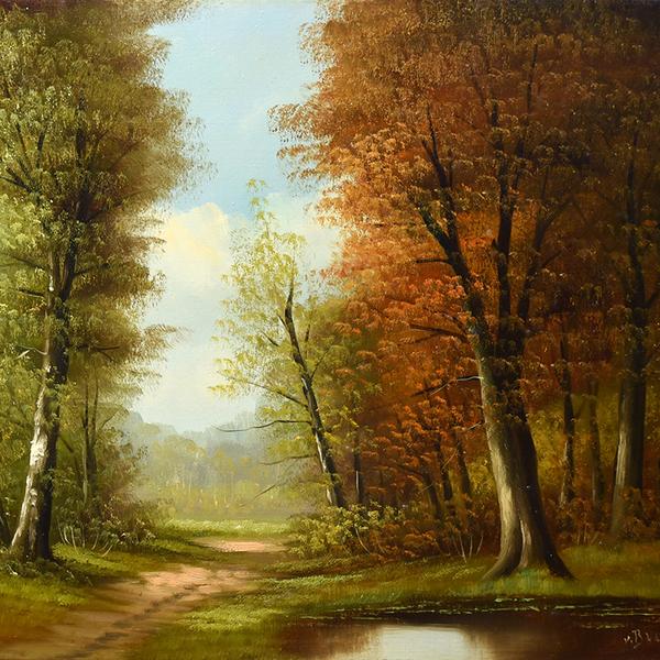 V.Brown 風景画 油彩額装