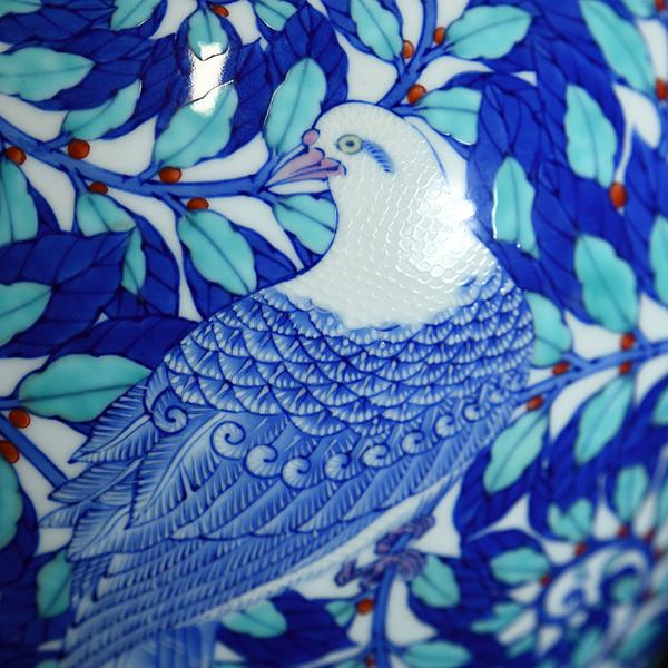 香蘭社 磁芸工房謹製 染錦模様花鳥文大花瓶 共箱栞付き