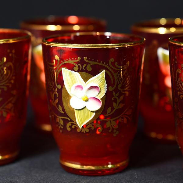 ベネチアングラス 金彩花盛 デキャンタ&グラス6客セット