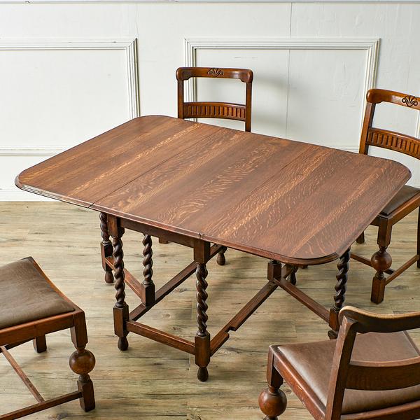 英国アンティーク ドロップリーフゲートレッグテーブル