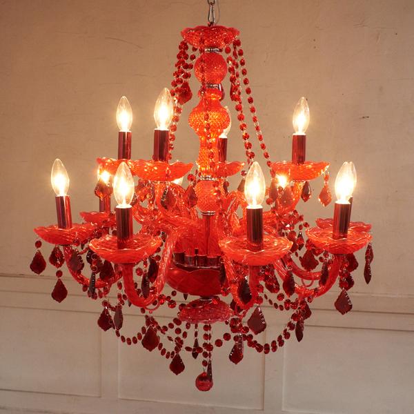 ヨーロピアンクラシック シャンデリア 12灯 レッド