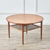 デンマーク製 ラタンラック ラウンドコーヒーテーブル