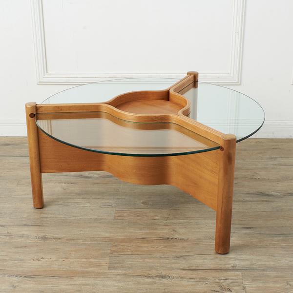 ネイサン NATHAN ガラストップ ラウンドコーヒーテーブル