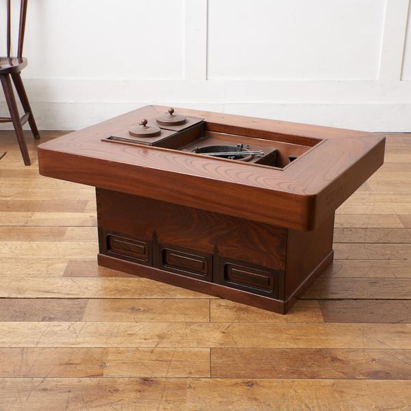 欅材 関西火鉢テーブル