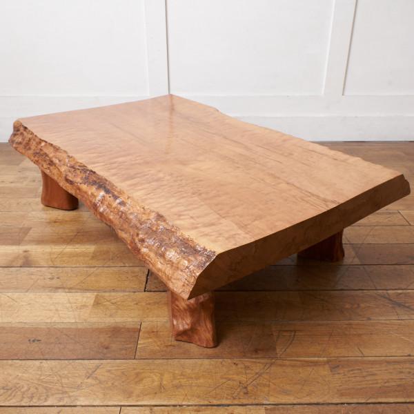 墨流し杢 スポルテッド 栃無垢材 一枚板座卓
