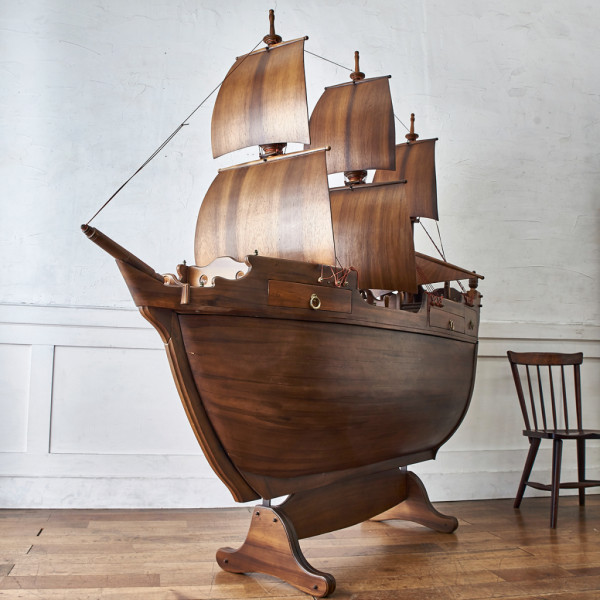 スペイン製 大型木彫装飾 メイフラワー号 ワインラック