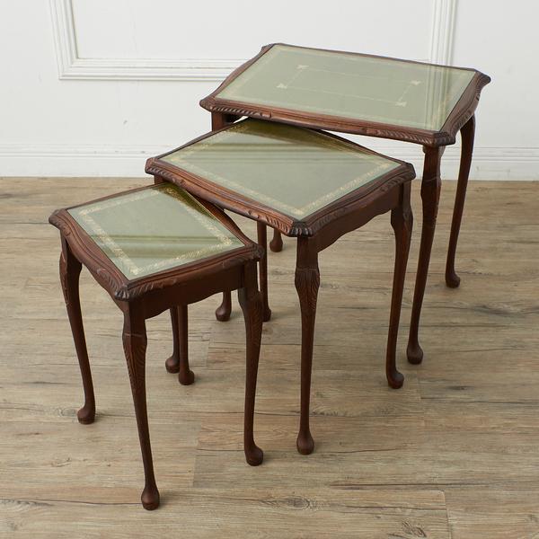 #37903 英国クラシック ガラストップ ネストテーブル コンディション画像 - 1