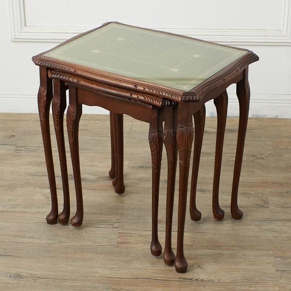 #37903 英国クラシック ガラストップ ネストテーブル コンディション画像 - 2
