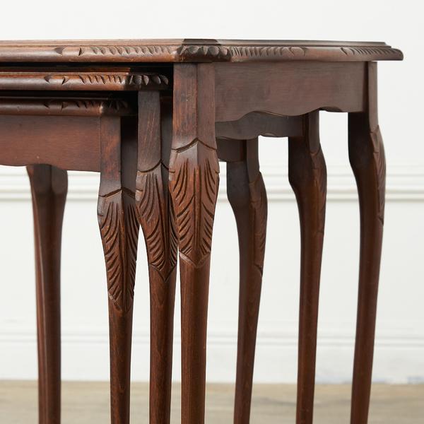 #37903 英国クラシック ガラストップ ネストテーブル コンディション画像 - 3