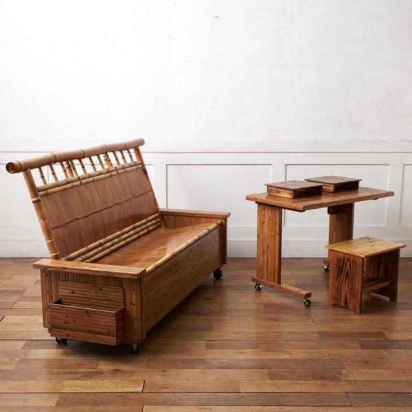 梅里工芸 竹工芸 ソファ5点セット ( 健康長椅子&デスク&スツール&置き台2点 )