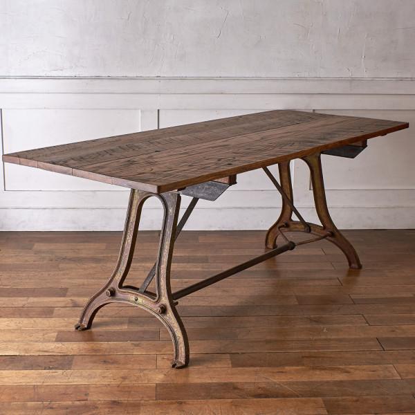 無垢材xアンティーク鉄脚 インダストリアル ダイニングテーブル