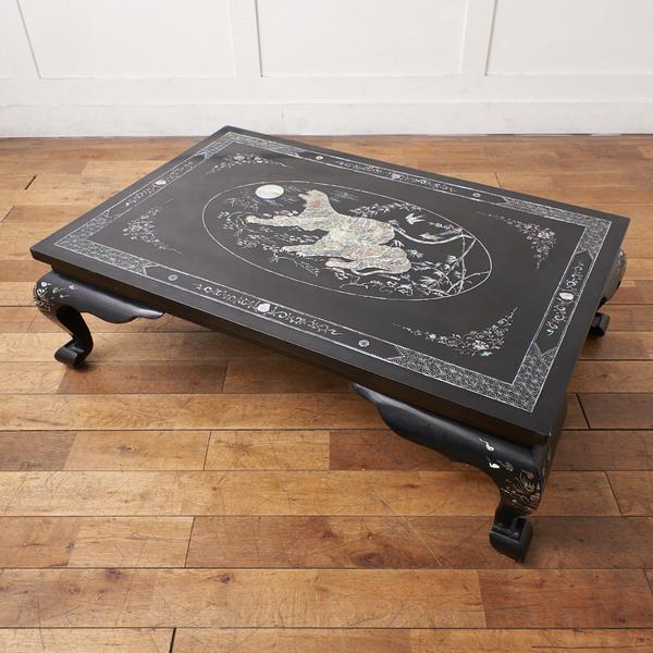 極上 青貝螺鈿細工 黒漆塗座卓