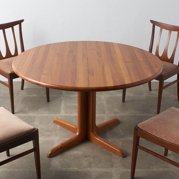 デンマーク製 ヴィンテージ チーク無垢材 エクステンション ラウンドテーブル