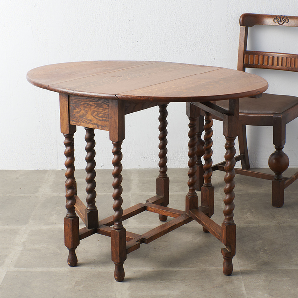 英国製 アンティーク オーバル ゲートレッグテーブル