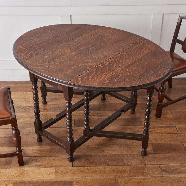 英国製 アンティーク オーバルゲートレッグテーブル