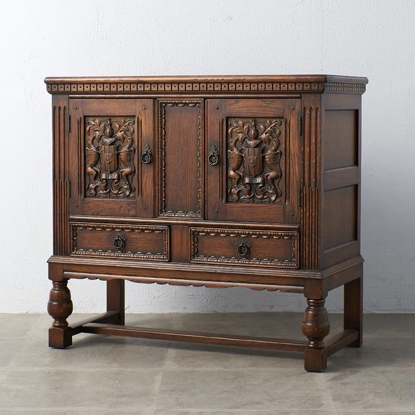 イギリス 1940年代 オーク 木彫刻 キャビネット