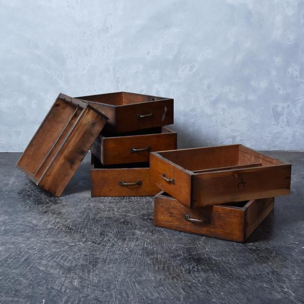 古い木製 引出し トレイ 6点セット