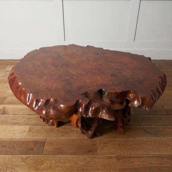 栃玉杢変木脚 一枚板座卓
