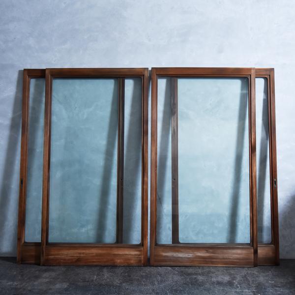 年代物 揺れガラス スライドドア 4点セット