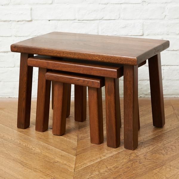 オランダ製 オーク無垢材 ネストテーブル