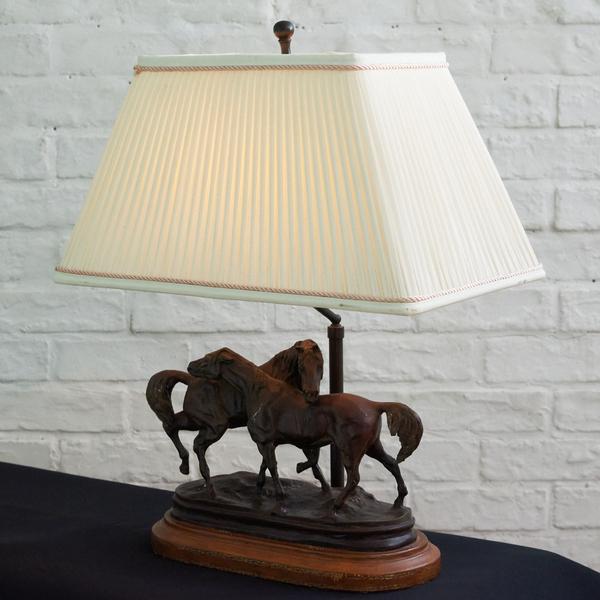 メートランドスミス MAITLAND SMITH ブロンズ像 戯れる2頭の馬 テーブルランプ