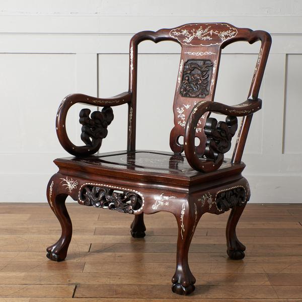 螺鈿細工 唐木 花梨椅子