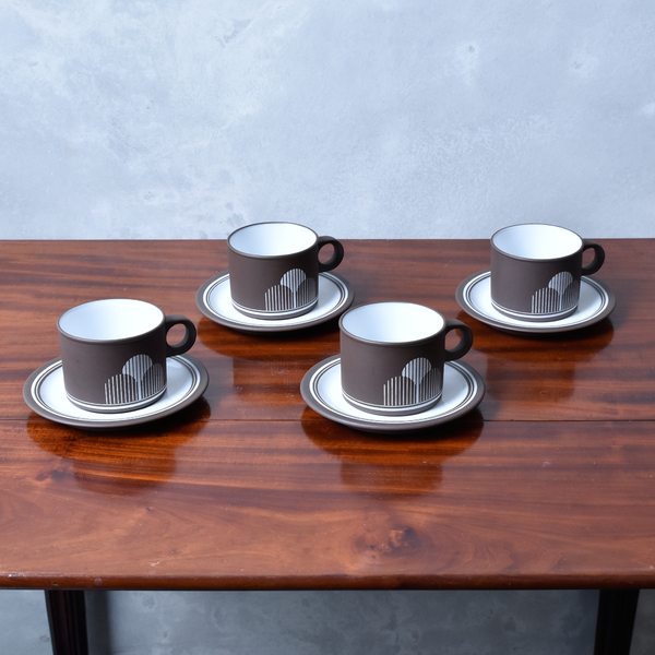 ホーンジー Hornsea Pottery LANCASTER VITRAMIC / Impact カップ&ソーサー 4客セット