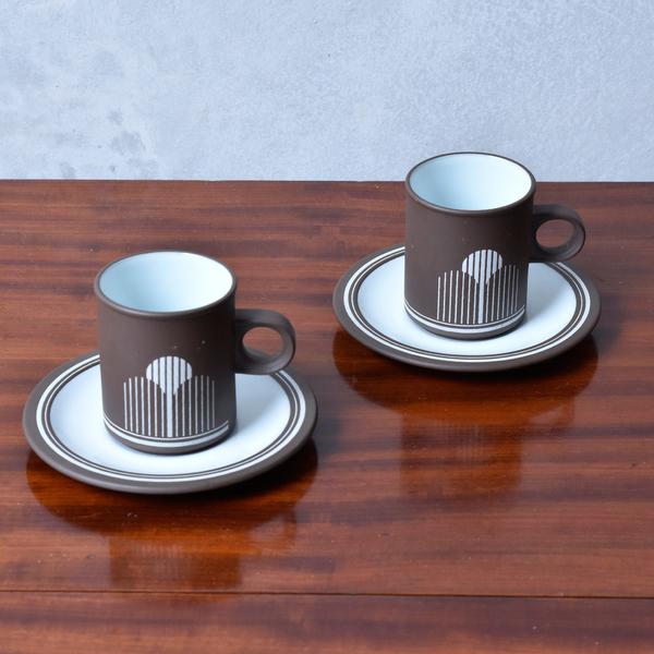ホーンジー Hornsea Pottery LANCASTER VITRAMIC / Impact カップ&ソーサー 2客セット