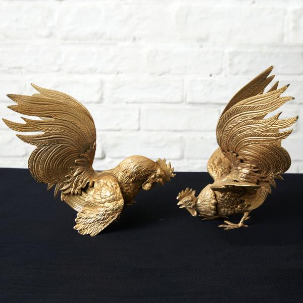 イギリス製 真鍮 鶏 オブジェ 2点セット
