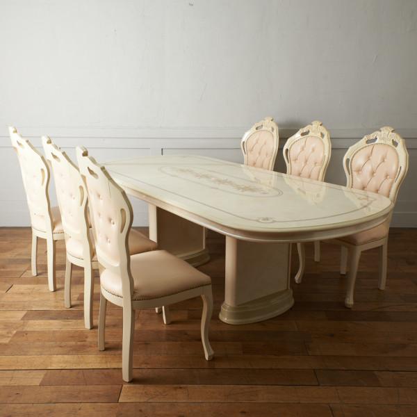 イタリア製 7点セット / 拡張テーブル & チェア6脚