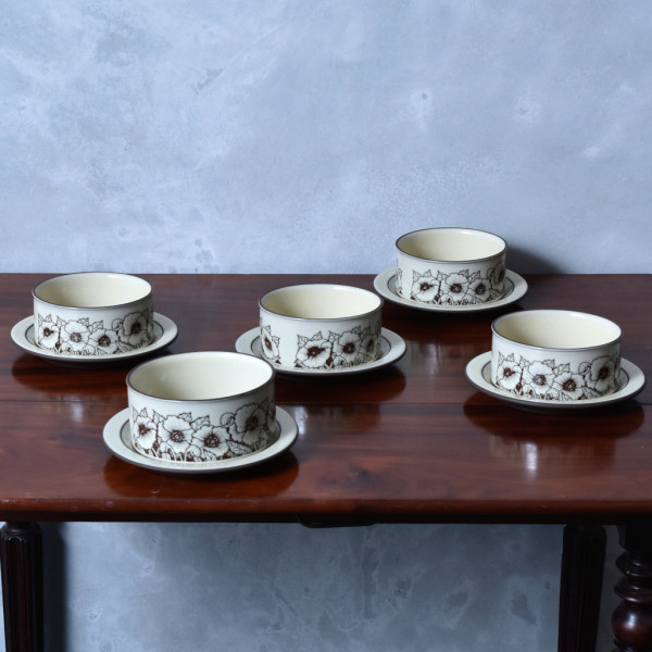 ホーンジー Hornsea Pottery CORNROSE スープボウル&ソーサー 5点セット