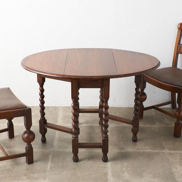W.& A. CHAPMAN, Ltd. 英国アンティーク ドロップリーフ ゲートレッグテーブル