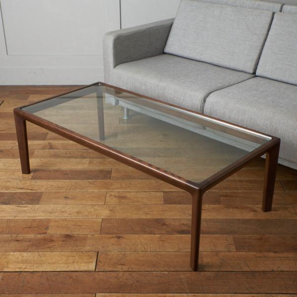 オーク材 ガラストップ センターテーブル