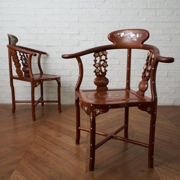 螺鈿細工 唐木椅子
