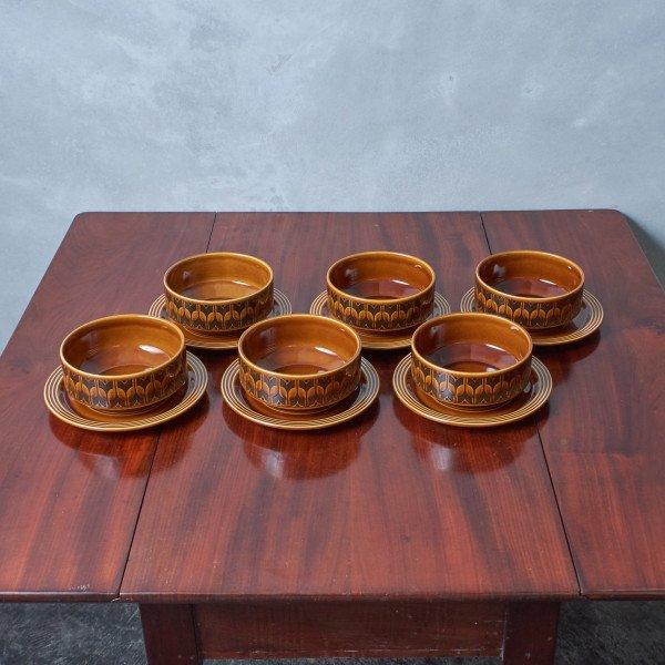 ホーンジー Hornsea Pottery HEIRLOOM / Autumn brown スープボウル&ソーサー 6点セット