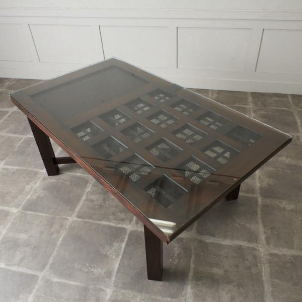 時代物 格子蔵戸 ガラストップ ディスプレイテーブル
