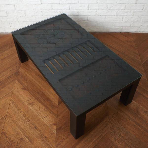 時代物 蔵戸 リメイク ガラストップ ローテーブル