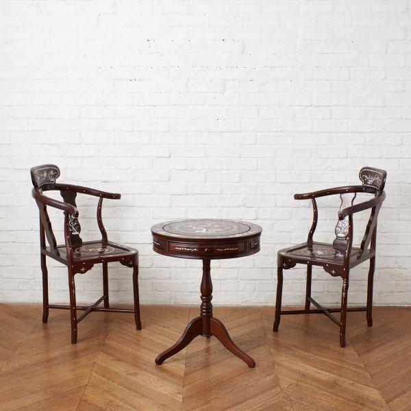 唐木 螺鈿細工 応接テーブル&チェア