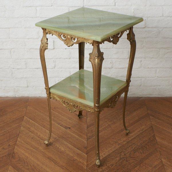 西洋クラシック グリーンオニキス サイドテーブル