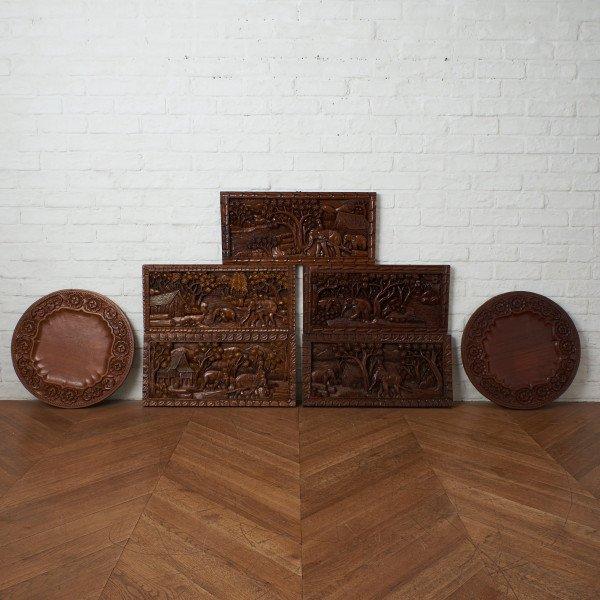 アジアンコロニアル 木彫刻 ウォールボード&トレイ