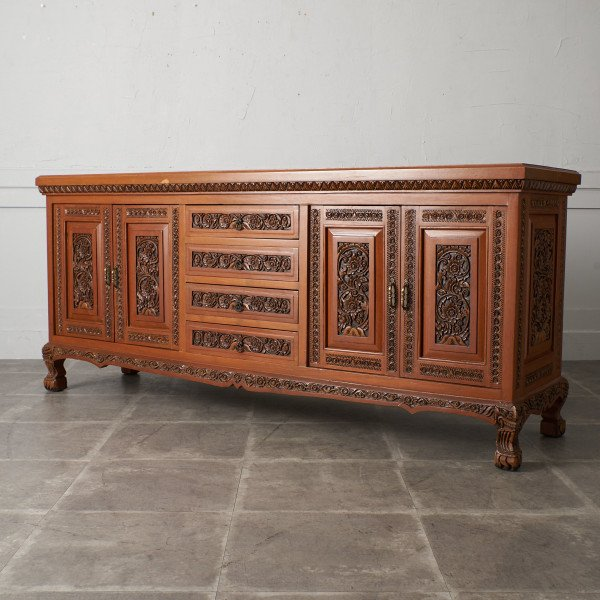アジアンコロニアル 木彫刻 サイドボード